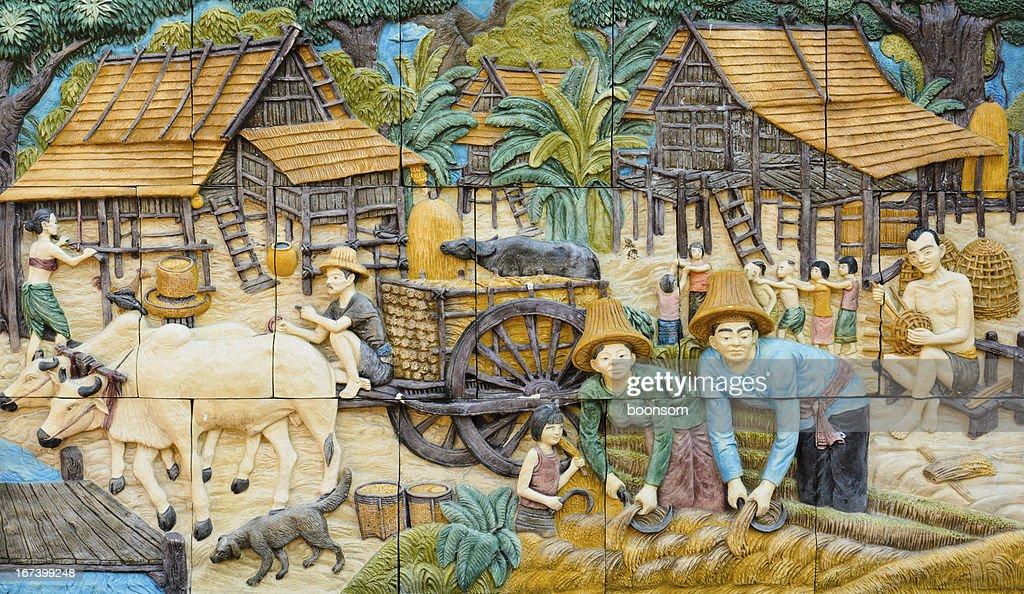 Thai native stucco : Stock Photo