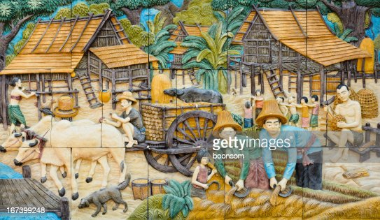 Thai native stucco : Stock Photo