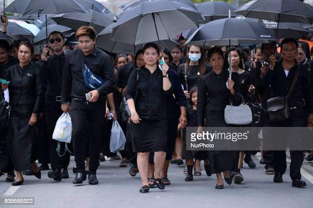 Thai people enter the Grand Palace to pay their silent respect to Thailand's late King Bhumibol Adulyadej in Bangkok Thailand 19 August 2017 King...