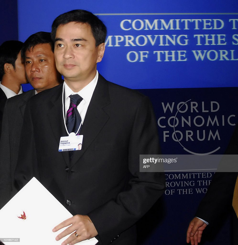 Thai Prime Minister Abhisit Vejjajiva arrives to attend the World Economic Forum on East Asia being held in Ho Chi Minh City on June 6, 2010. Thailand is 'back' after recent deadly unrest, Thai Premier said on his first trip abroad since the end of crippling anti-government protests. 'We are back, stable and secure,' he told the forum, a gathering of global business leaders and regional politicians.