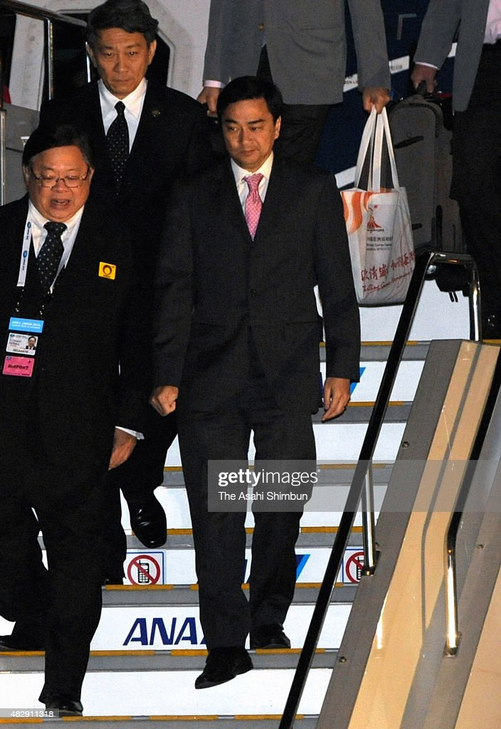 Thai Prime Minister <a gi-track='captionPersonalityLinkClicked' href=/galleries/search?phrase=Abhisit+Vejjajiva&family=editorial&specificpeople=645779 ng-click='$event.stopPropagation()'>Abhisit Vejjajiva</a> is seen on arrival at Haneda International Airport to attend the Asia-Pacific Economic Cooperation (APEC) Summit meeting at Pacifico Yokohama on November 13, 2010 in Tokyo, Japan.