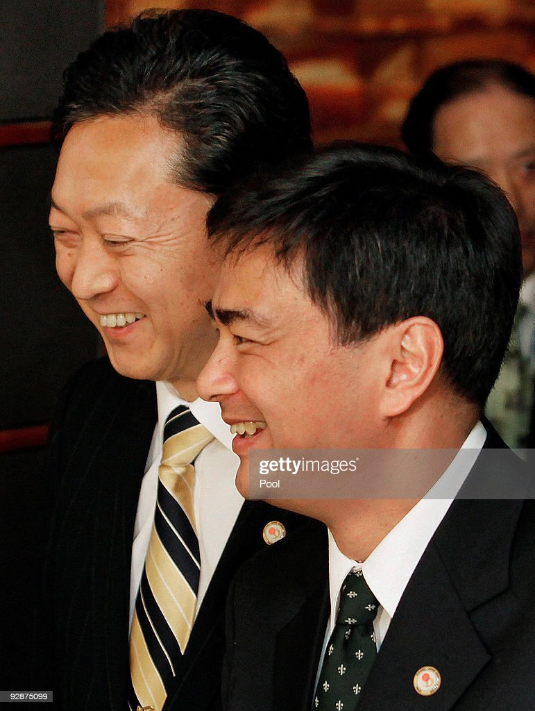 Thai Prime Minister <a gi-track='captionPersonalityLinkClicked' href=/galleries/search?phrase=Abhisit+Vejjajiva&family=editorial&specificpeople=645779 ng-click='$event.stopPropagation()'>Abhisit Vejjajiva</a>, right, is escorted by his Japanese counterpart <a gi-track='captionPersonalityLinkClicked' href=/galleries/search?phrase=Yukio+Hatoyama&family=editorial&specificpeople=705513 ng-click='$event.stopPropagation()'>Yukio Hatoyama</a> prior to their meeting at the latter's official residence prior to the Mekong - Japan Summit Meeting on November 7, 2009 in Tokyo, Japan. The meeting is held to develop the relationships with Japan and Mekong region countires.