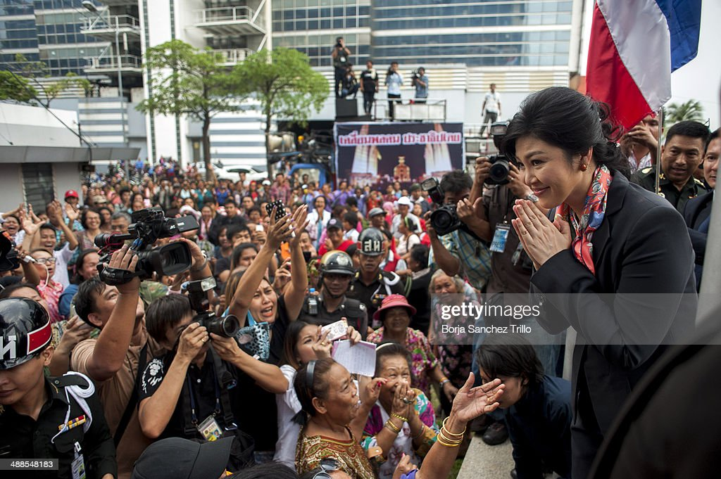 Thai Prime Minister, Yingluck Shinawatra, said goodbye to her supporters at the Defence Permanent Secretary Office on May 7, 2014 in Bangkok, Thailand. Thai Constitutional Court has ruled that Thai Prime Minister, Yingluck Shinawatra, and 9 cabinet ministers are to step down. The charges relate to complaints filed by senators which suggested that Yingluck's party improperly transferred her security chief in 2011.