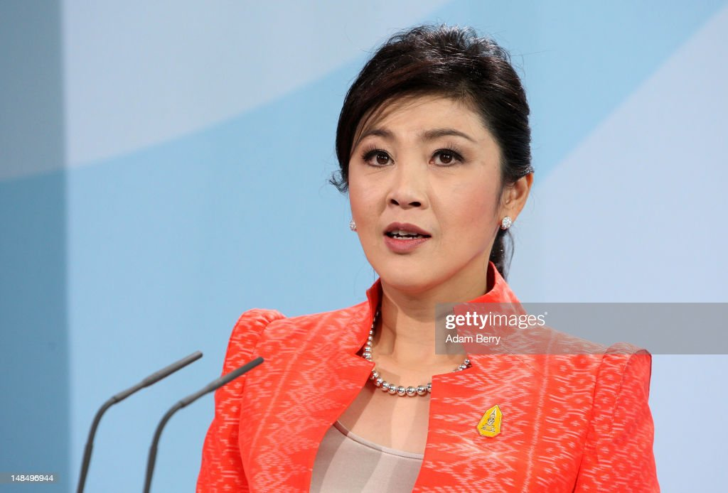 Thai Prime Minister Yingluck Shinawatra speaks during a news conference at the German federal chancellory on July 18, 2012 in Berlin, Germany. Yingluck, Thailand's first female prime minister, is on her first state visit outside of Asia since she took office in August of last year.