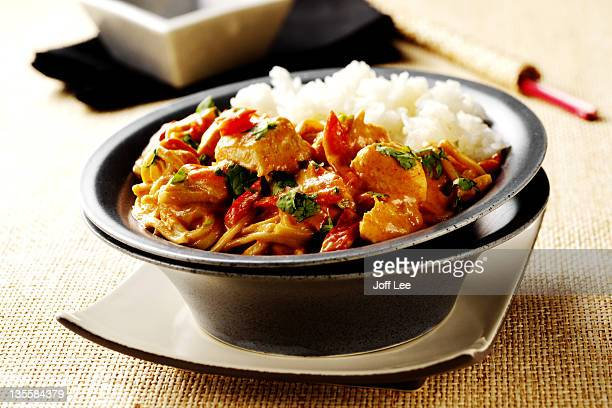 Thai red chicken curry with rice