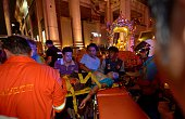Thai rescue workers transport an injured person after a bomb exploded outside a religious shrine in central Bangkok late on August 17 2015 killing at...