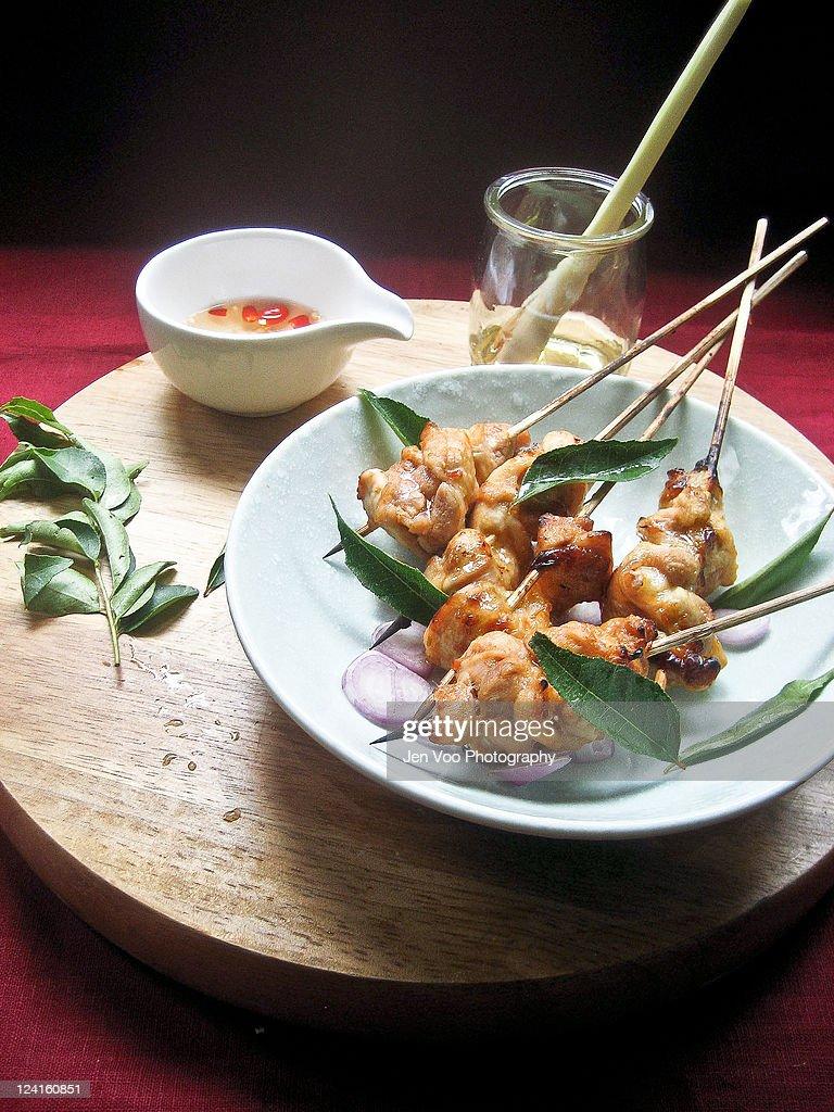 Thai roasted chicken satay/ skewers : Stock Photo