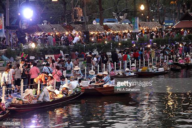 Thai sellers on boat at Klong Padung Krung Kasem floating market near Government House in Bangkok The market is being promoted by the government in...