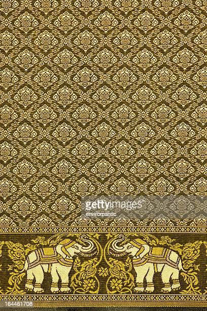 Thai silk elephant motif pattern.