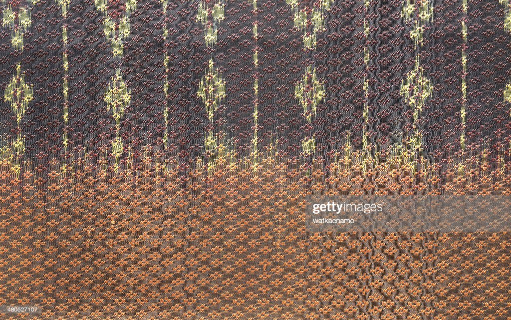 thai silk fabric pattern background : Stock Photo