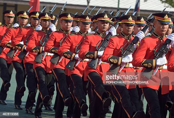 Thai soldiers parade during a welcoming ceremony for China's Defence Minister Chang Wanquan at the Defence Ministry in Bangkok on February 6 2015...