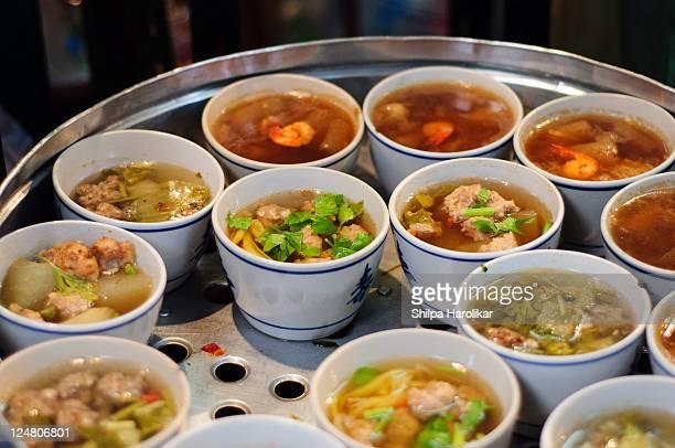 Thai soups in single serving bowls