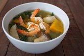 Thai Spicy Mixed Vegetable Soup with Prawns is the Thai traditional food