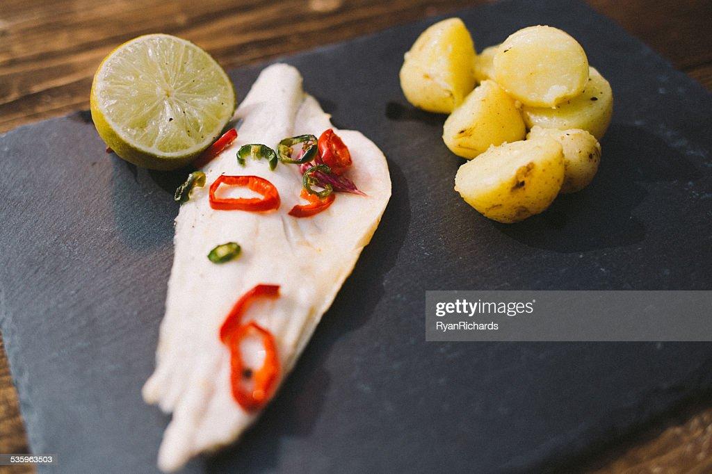 Thai Steamed Sea Bass : Stock Photo