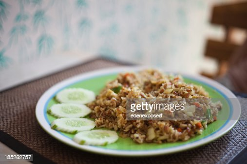 Thai Style Fried Rice and Cucumber : Stock Photo
