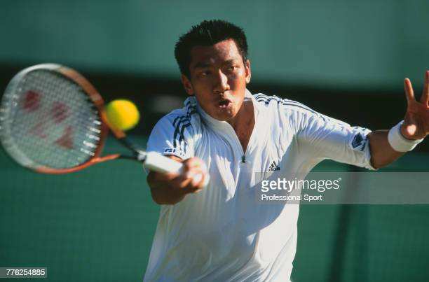Thai tennis player Paradorn Srichaphan pictured in action during competition to reach the third round of the Men's Singles tennis tournament at the...