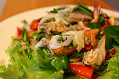 Thai traditional spicy seafood salad, Selective focus.