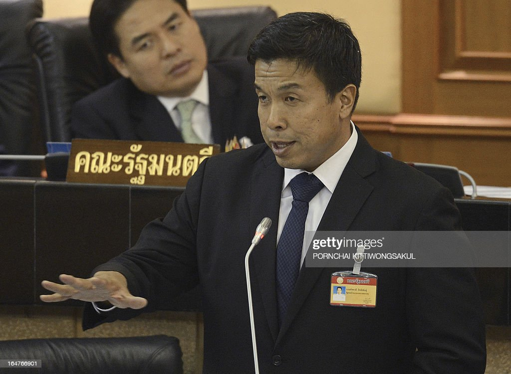 Thai Transport Minister Chadchart Sittipunt speaks during a debate on the 2-trillion-baht loan bill at Parliament, in Bangkok on March 28, 2013. The 2-trillion-baht (USD 68 billion USD) loan bill would be used to boost the national infrastructure and investment projects for the Association of South east Asian Nations Economic Community (AEC).