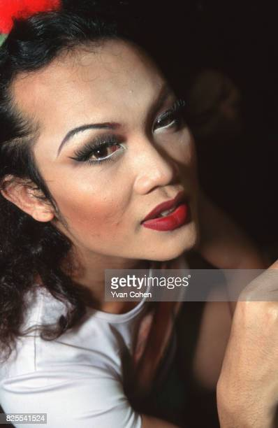 Thai transsexual performer poses for the camera before going onstage for a show at a nightclub in Bangkok Transsexuals or Katoeys as the Thais call...