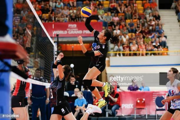 Thai volleyball player Hattaya Bamrungsuk spikes the ball during the Grand Prix Volleyball match Japan versus Thailand on July 7 2017 in Apeldoorn /...