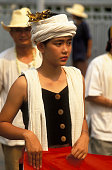 Thai Woman at Songkran Festival Procession