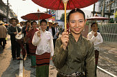 Thai Women at Songkran Festival Procession