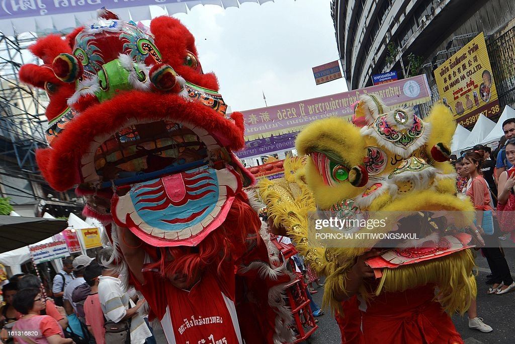 Thai-Chinese dancers perform a lion dance as they celebrate the Chinese New Year in Bangkok's China town on February 10, 2013. Chinese communities worldwide are welcoming the ' Year of the Snake '.