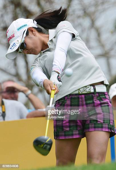 PATTAYA Thailand Ai Miyazato of Japan hits a tee shot at the Siam Country Club in Thailand during the first round of the Honda LPGA Thailand...