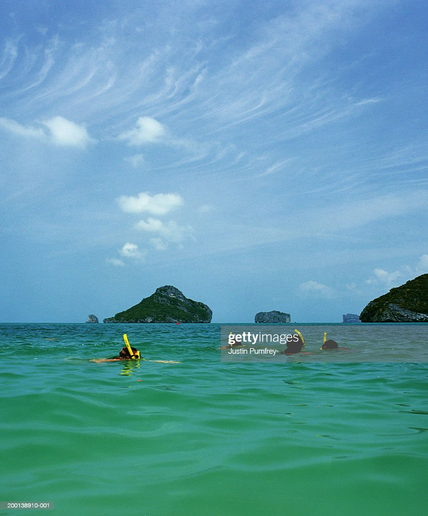 Thailand, Ang Thong Islands, four young people snorkelling in sea