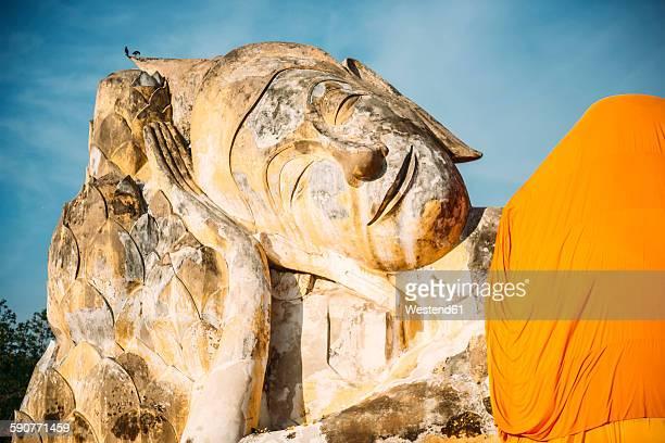 Thailand, Ayutthaya, lying Buddha statue at Wat Lokayasutharam