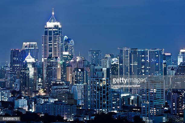 Thailand, Bangkok, Elevated view of city at night
