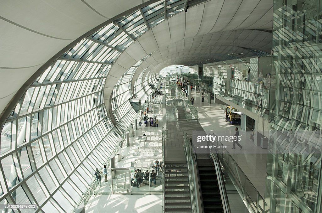 Thailand, Bangkok, Passengers on airport, high angle view