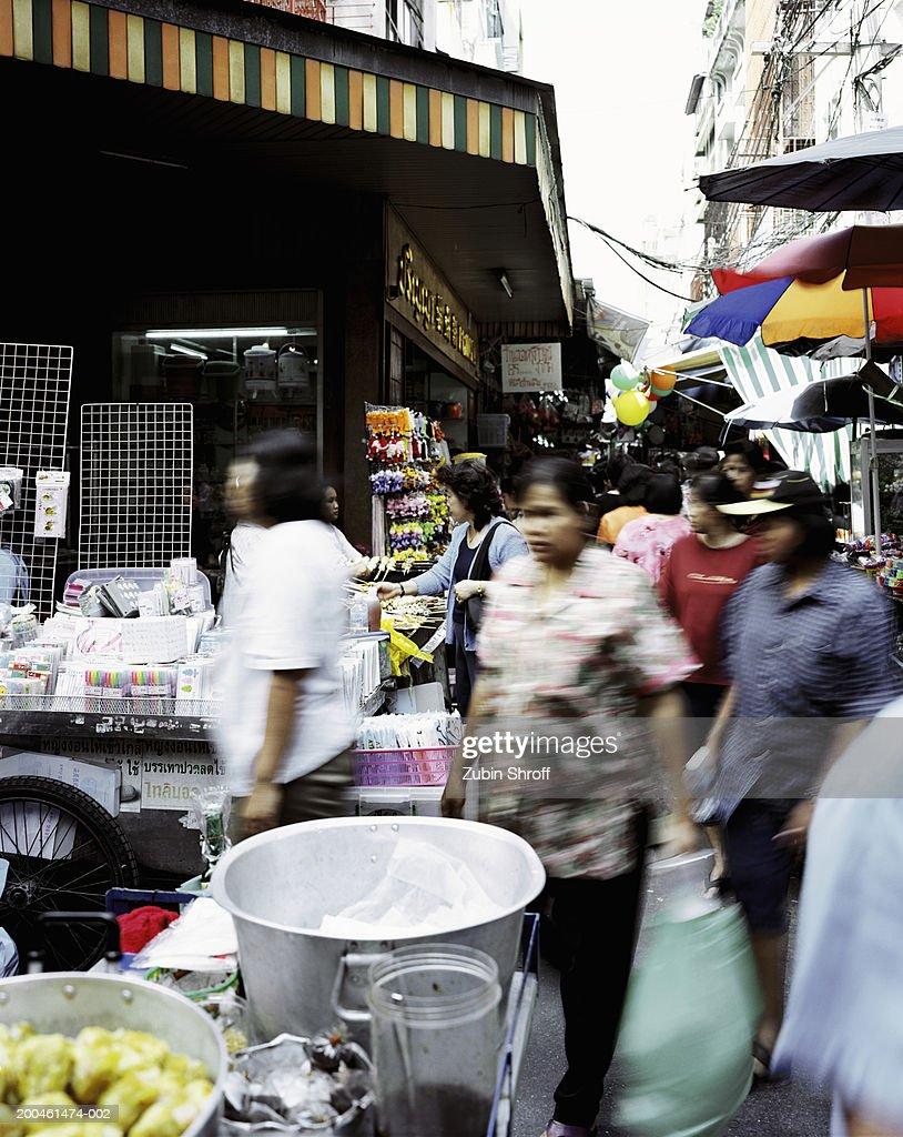 Thailand, Bangkok, people at street market : Stock Photo