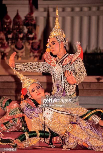 Thailand Bangkok Ramayana Performance Two Performers CloseUp