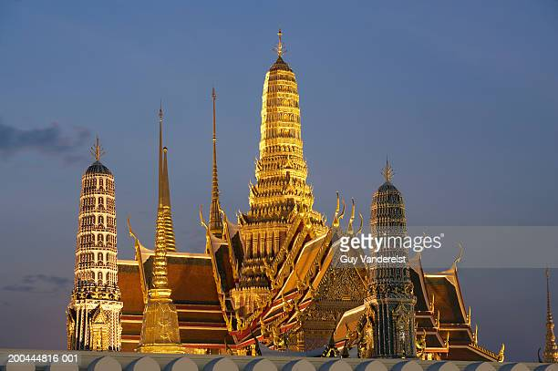 Thailand, Bangkok, Wat Phra Kaew temple illuminated at dusk