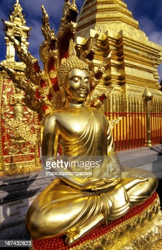 Thailand, Chiang Mai, Wat Phrathat Doi Suthep, Buddhist temple. : Stock Photo
