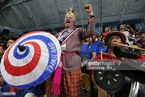 Thailand fans cheer for their team during the FIFA Futsal World Cup Round of 16 match between Thailand and Spain at Nimibutr Stadium on November 11...