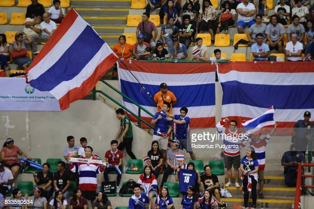 Thailand fans rise a flag during the 19th Asian Senior Women's Volleyball Championship 2017 Final match between Thailand and Japan at Alonte Sports...