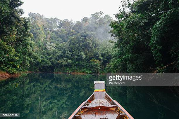 Thailand, Khao Sok National Park, longtail boat in jungle