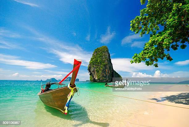 Thailand, Krabi, Boats on shore