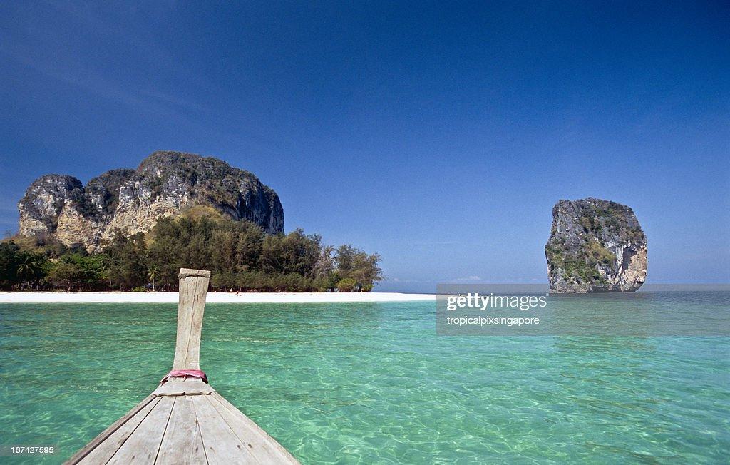 Thailand, Krabi Province, Ko Poda, longtail boat. : Stock Photo