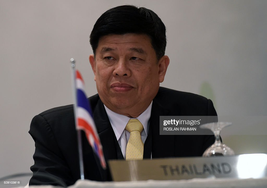 Thailand Minister of Natural Resources and Environment Surasak Karnjanarat attends a press conference on the 18th Meeting of the Sub-Regional Ministerial Steering Committee on Transboundary Haze Pollution in Singapore on May 4, 2016. / AFP / ROSLAN