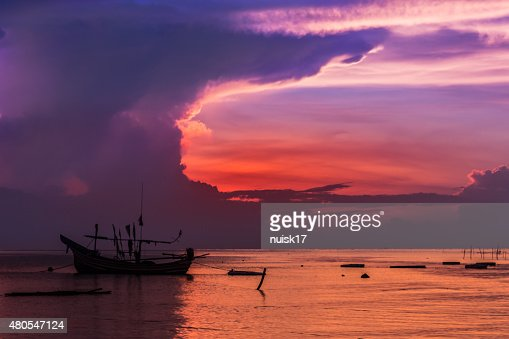 Thailand Muslim fishing boats of the fishermen. : Stock Photo