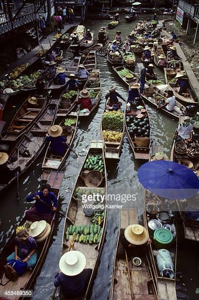 Thailand Near Bangkok Damnern Saduak Floating Market Sampan Boats With Local Food Produce Other Goods