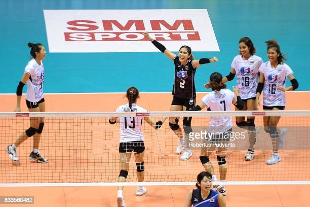 Thailand players celebrate a point during the 19th Asian Senior Women's Volleyball Championship 2017 Final match between Thailand and Japan at Alonte...
