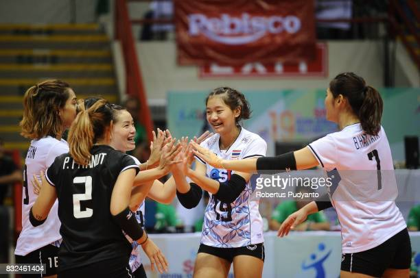 Thailand players celebrate victory after beating Korea 30 during the 19th Asian Senior Women's Volleyball Championship 2017 Semifinal match at Alonte...