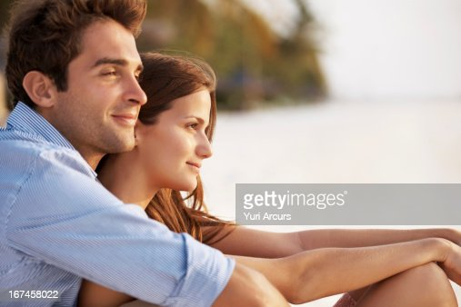 Thailand, Portrait of couple hugging on beach : Stock Photo