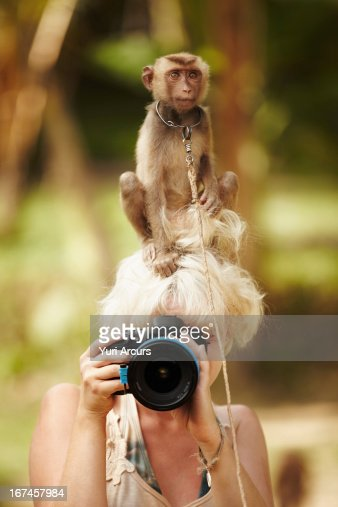 Thailand, Portrait of female photographer with macaque monkey sitting atop her head : Stock Photo