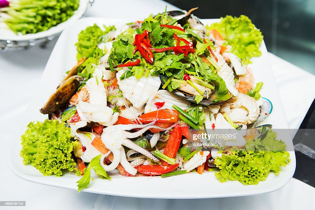 Thailand Sea Food Salad Spicy seafood : Stock Photo