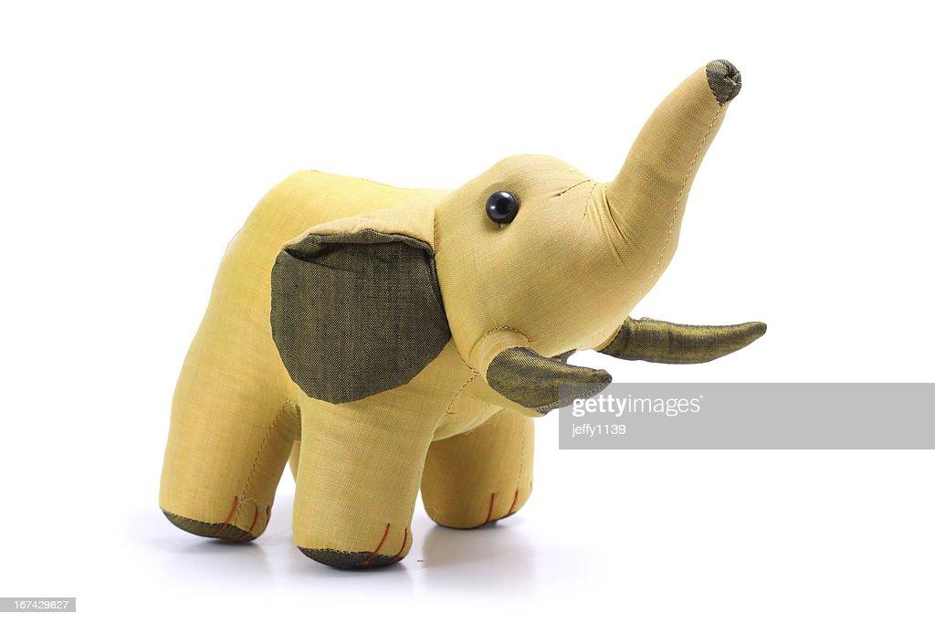 Tailândia, seda dourado Boneca de elefante isolado em fundo branco : Foto de stock